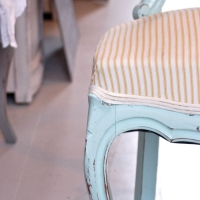 Holly Chair- Blue with Sunshine Ticking